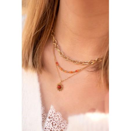 Collier Acier Soleil Triple (orange)