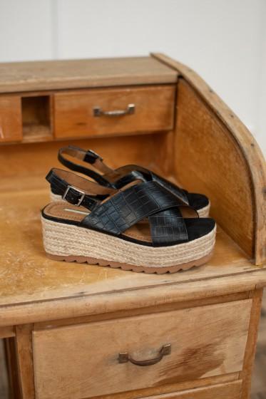 Sandale X Croco X Mend (Noir)