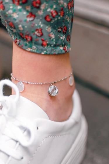 Bracelet Acier Cheville (Nacre Argent)
