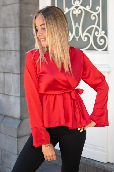 Ines Satin Top (Red)
